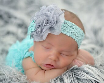 Grey Aqua Headband, Grey Lace Headband, Aqua Gray Headband, Newborn Aqua Headband, Newborn Photo Prop, Baby Shower Gift, Aqua Baby Headband