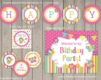 Butterfly Birthday Package / Butterfly Birthday Pack / Butterfly Decoration / Butterfly Printable / Butterfly Favor Tags / Girl Birthday