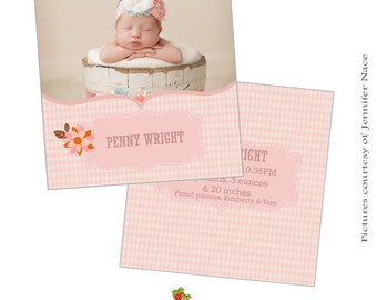 INSTANT DOWNLOAD 5x5 Birth Announcement Card Photoshop Template - CA006