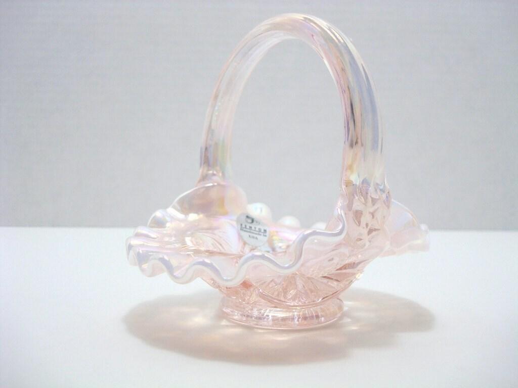 Vintage Fenton Pink Glass Basket Iridescent Opalescent