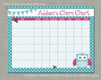 Personalized Kids Chore Reward Chart {Printable} Sized 8.5 x 11 - Owl Design