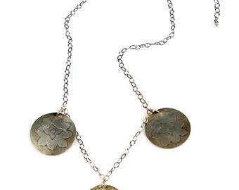 Flaming Lotus medallion Trifecta Oxidized Sterling Silver Adjustable Necklace
