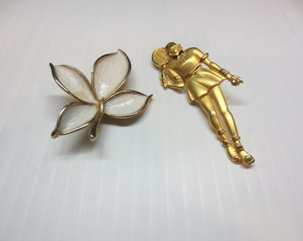 Tennis Girl and Leaf Pins