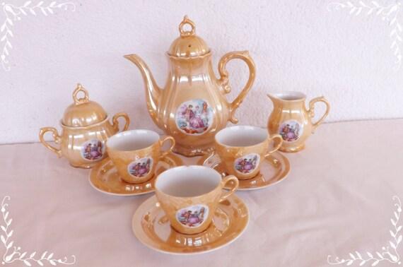 Juego de t tetera vintage porcelana taza t taza t for Juego de tazas de te