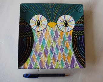 Colorful & Whimsical Owl Plate