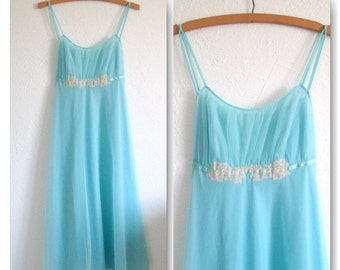 Vanity Fair Vintage 1950's Baby Blue Chiffon Nylon Tricot Nightgown Size 34 Made in U.S.A.