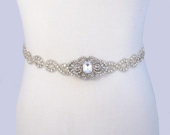 35 Satin Colors, Wedding Dress Belt, Jeweled Beaded Bridal Belt, Crystal Rhinestone Wedding Dress Sash, Infinity Symbol, Satin Ribbon Sash