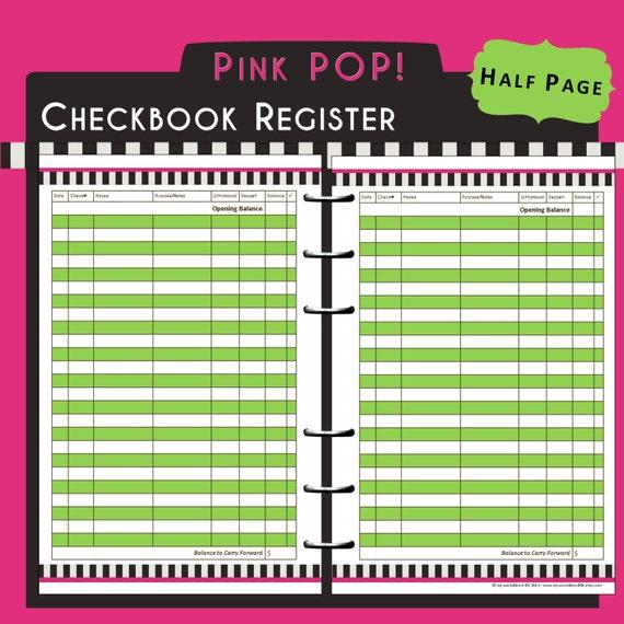 check registers free printable