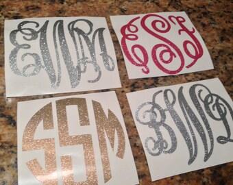 Glitter Monogram Decal - Completely Customizable