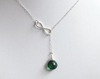 Lariat Necklace, Emerald Green Quartz, Infinity Link, Trendy, Wire Wrap Briolette, Infinite Love, Sterling Silver Necklace. LIJ13027
