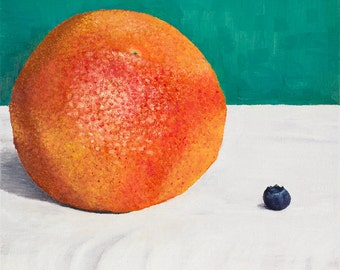 "Grapefruit & Blueberry Still Life (8x8"" giclee print)"