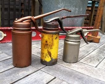 Trio of Vintage Pistol Grip Oil Cans, Vintage Garage, Industrial Chic, Rustic Home Decor, Retro Tools, Petroliana