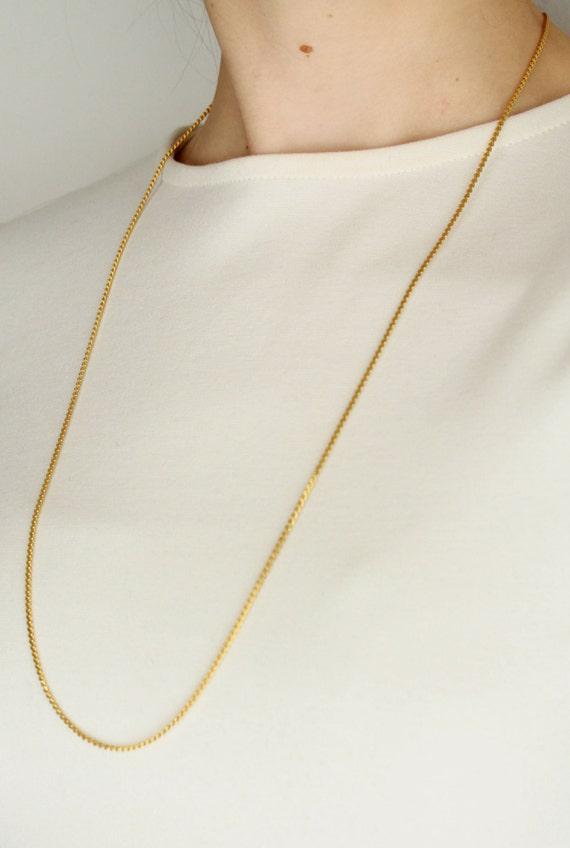 Vintage Plain Gold Necklace Thin Gold Chain Necklace Long