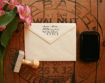 "Hand Drawn Calligraphy Return Address Stamp - Custom Save the Date Stamp - 2.5"" x 1.5"" - Harper"
