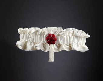 "White Silk Wedding Garter ""Fleurs de Cerisier"" Red Silk Flower - Luxury Wedding"