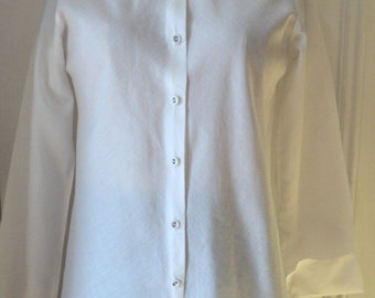 Shirt, WHITE Shirting, Fitted Bias Cut Totally Perfect, Fine Tissue thin Broadcloth, 100% Cotton, Shirting Fabric, Isda Funari for ISDA & Co