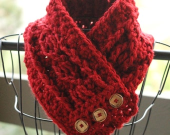 Red cowl - crochet cowl - button cowl - scarf - cozy cowl - chunky
