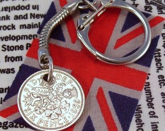 Lucky 1959 6d Sixpence English Coin Keyring Key Chain Fob Queen Elizabeth II