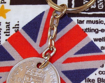 1960 Old English Shilling Coin Keyring Key Chain Fob Queen Elizabeth