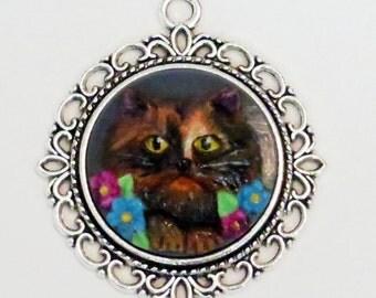 Custom Cat Cameo - Pet Portrait - Handpainted - Kitty - Cat Necklace