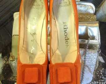 Vintage Women's Shoes 1960's Bright Orange Patton Leather Heels with Patton a Leather and Ribbon Bow on Top  No. 4