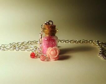 Flora Vial Necklace - Disney Fairy Briar Rose Sleeping Beauty Inspired - Handmade, Corked Glass Bottle - Pink Rose Bead