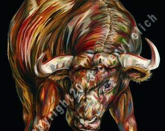 "13""x19"" Up Trend Bull Market-Stock Exchange - Stock Market Bull -Archival Giclée Fine Art Print -Wallstreet"