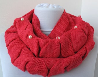 CLEARANCE SALE - Pink Knit Scarf - Infinity Scarf - Loop Scarf - Circle Scarf - with pearl beads  762