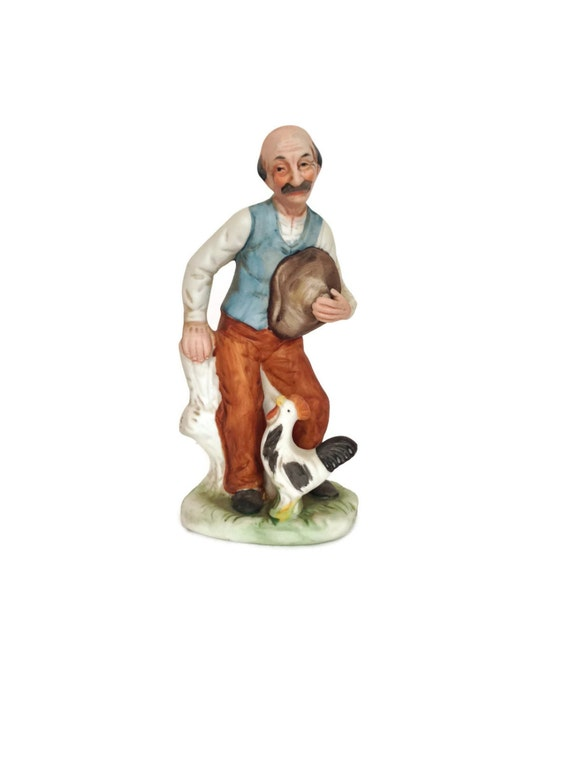 Arnart ceramic figurine man with rooster farmhouse decor gifts under 10