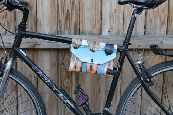 Top Tube Bike Frame Bag Mature Cute Bicycle Accessory Upcycled-2239
