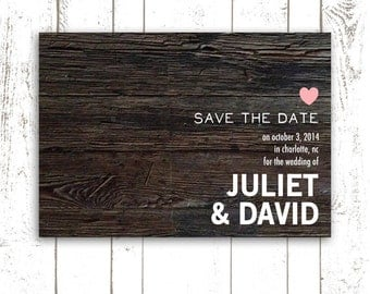 Save The Date, Rustic Wood Save The Date Cards,  Pink Heart Wedding Cards, Rustic Wedding