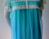 Flirty blue babydoll nightgown set/ baby blue mid century nightie and dressing gown set
