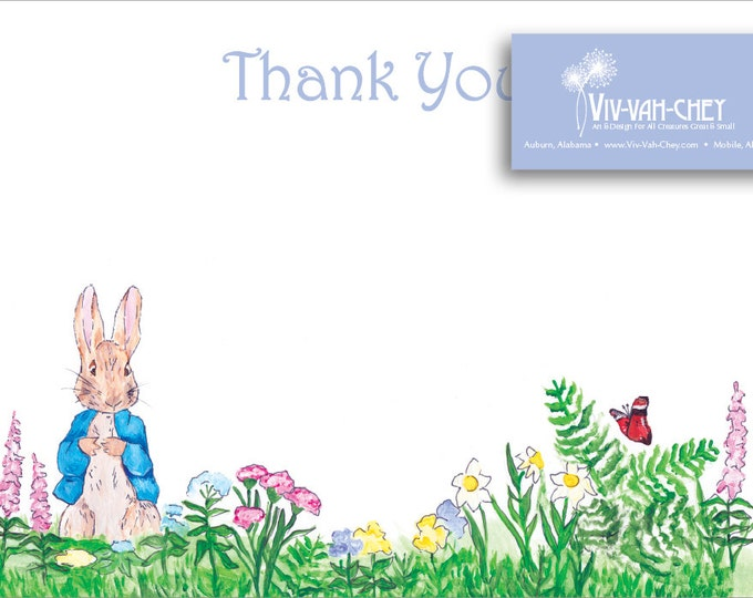 Hand Painted Peter Rabbit | Thank You Stationery