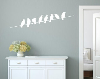 Birds On A Wire Wall Sticker, Bird Wall Stickers, Bird Wall Decals, Home Wall Art, Modern Wall Transfers - AN064