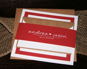 Simple Heart Modern Red Wedding Invitation Suite Wedding Invite Christina Design - SAMPLE
