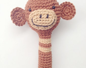 Monkey Rattle, Baby Rattle, Rattle, Soft Baby Rattle