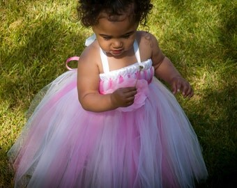 Pink and White tutu flower girl dress