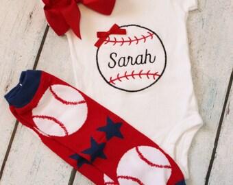 Baby Girl Baseball Outfit, Baseball Shirt, Baseball Bodysuit