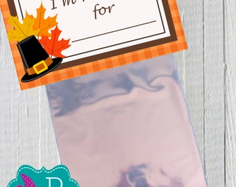 I'm thankful Thanksgiving Bag Topper Printable- instant download