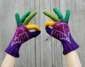 Hand felted wool gloves, purple with colored fingers. OOAK - filcAlki