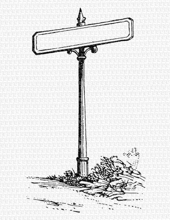 Blank Street Signs Black And White Clipart 1