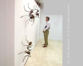 Ant sculpture installation, Metal art, 4 Ants, Contemporary art, Wall Sculpture, Insect, Ceiling, Home decor, Office, Original, Cosé Manzano