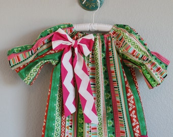 Girls Christmas sweater print girl's peasant dress with pink chevron bow; pink and green Christmas dress
