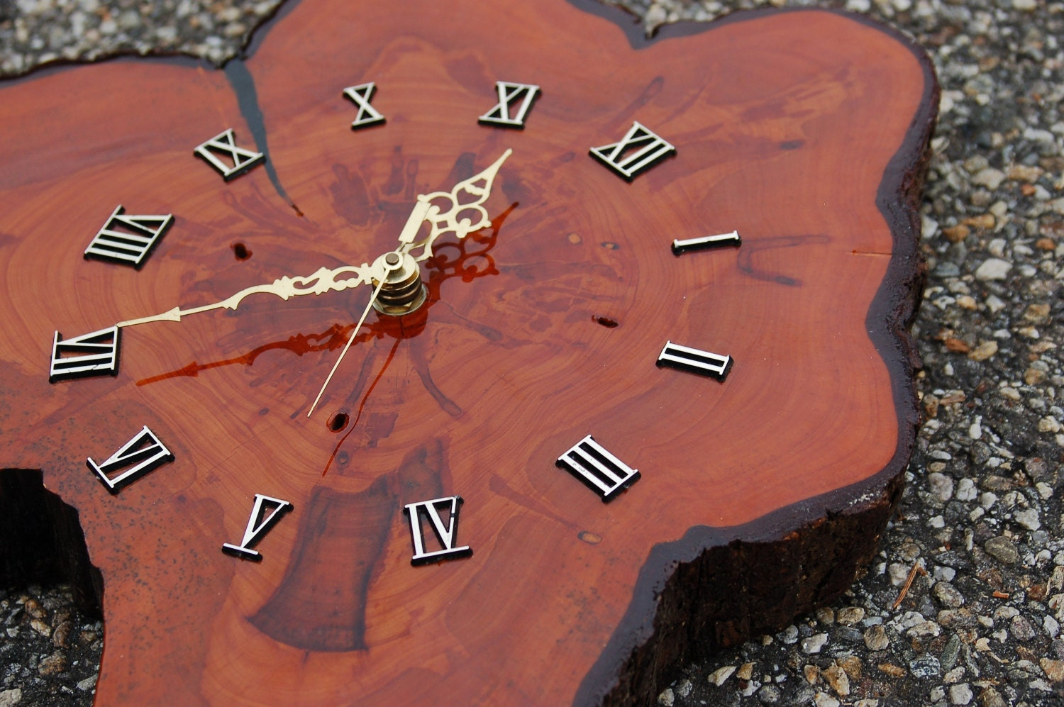 Mid Century Cypress Burl Wood Wall Clock By
