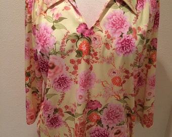 Vintage Pull Over Pink Peony  Floral Blouse by Haband  Size 12/14