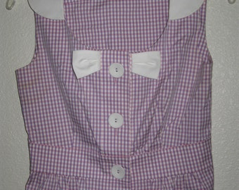 Reneevon London Pink Purple + White Gingham Sleeveless Top/Blouse