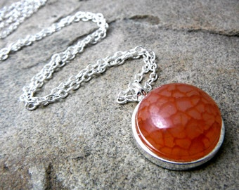 Dark Orange Agate Necklace, Orange Necklace, Orange Pendant Necklace, Agate Pendant Necklace, Agate Jewelry, Gemstone Necklace