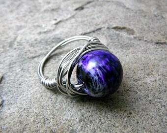 Dark Purple Marble Ring, Wire Wrapped Ring, Dark Purple Ring, Chunky Purple Ring, Wire Wrapped Jewelry Handmade, Purple Statement Ring