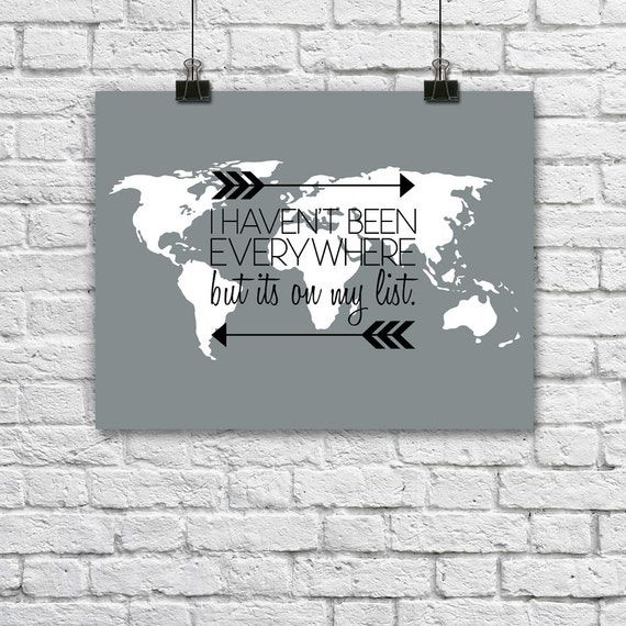 World map quote poster travel print wanderlust typography like this item gumiabroncs Image collections