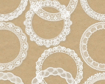 "20 Lace Frames Clipart: ""LACE CIRCLE FRAMES"" Digital lace frames clipart in white and black for invites, wedding, cards"